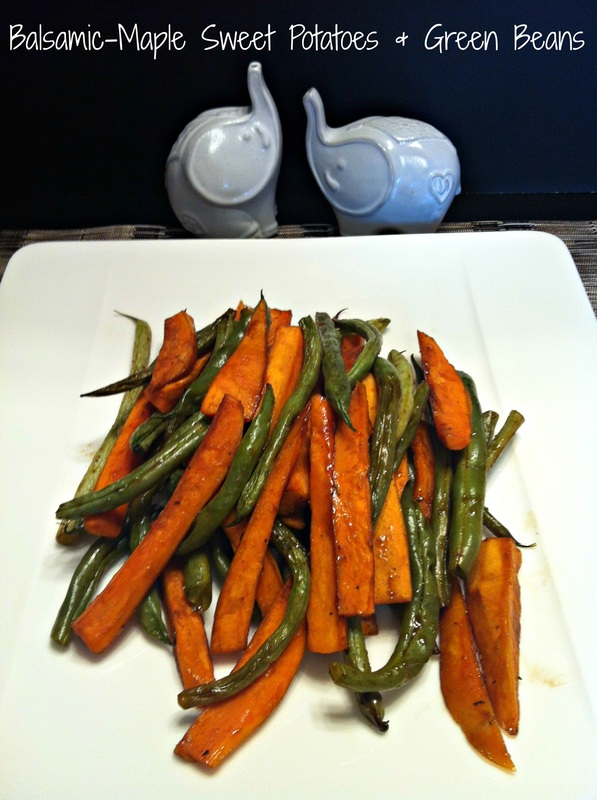 Balsamic-Maple Sweet Potatoes and Green Beans ~ Roasted together and tossed with sweet maple syrup, tangy balsamic vinegar and herbs ~ The Complete Savorist