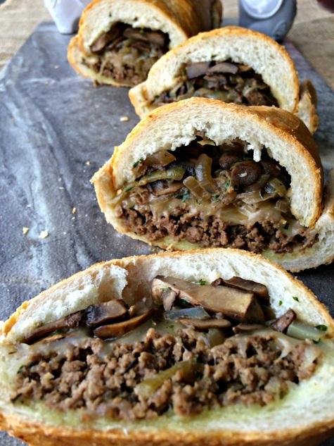 Mushroom Swiss Cheeseburger Stuffed French Bread ~ The Complete Savorist