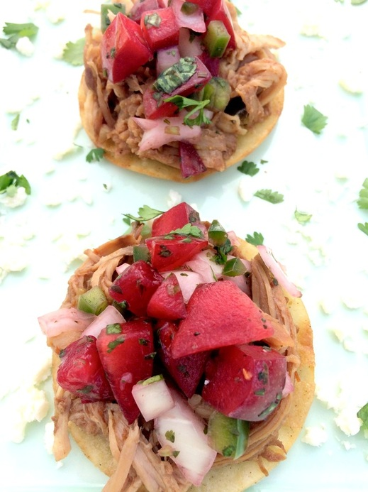 Sweet Pork Mini Tostadas with Plum Salsa ~ The Complete Savorist