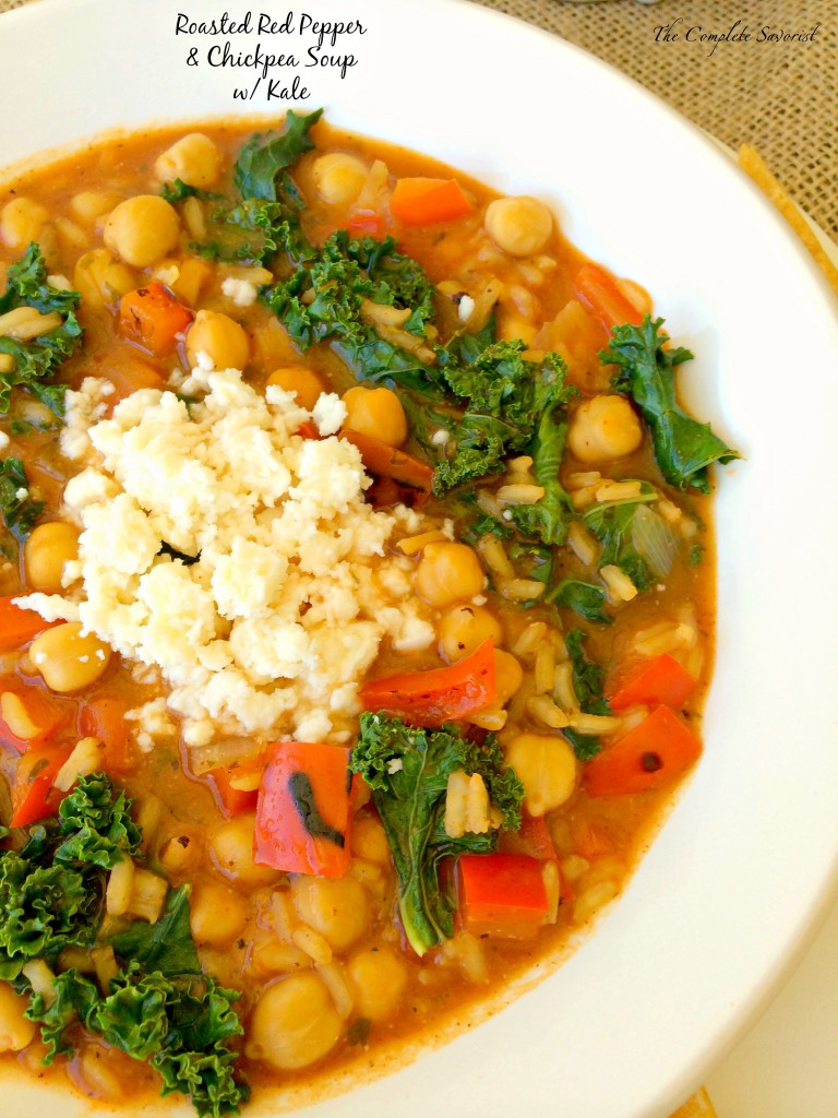 Red Pepper and Chickpea Soup with Kale - The Complete Savorist