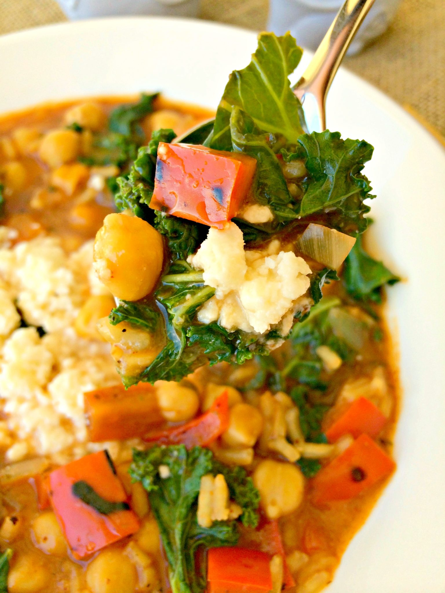 Red Pepper and Chickpea Soup with Kale ~ Hearty, Healthy, and Satisfying, this soup will warm you up and tantalize the palate ~ The Complete Savorist
