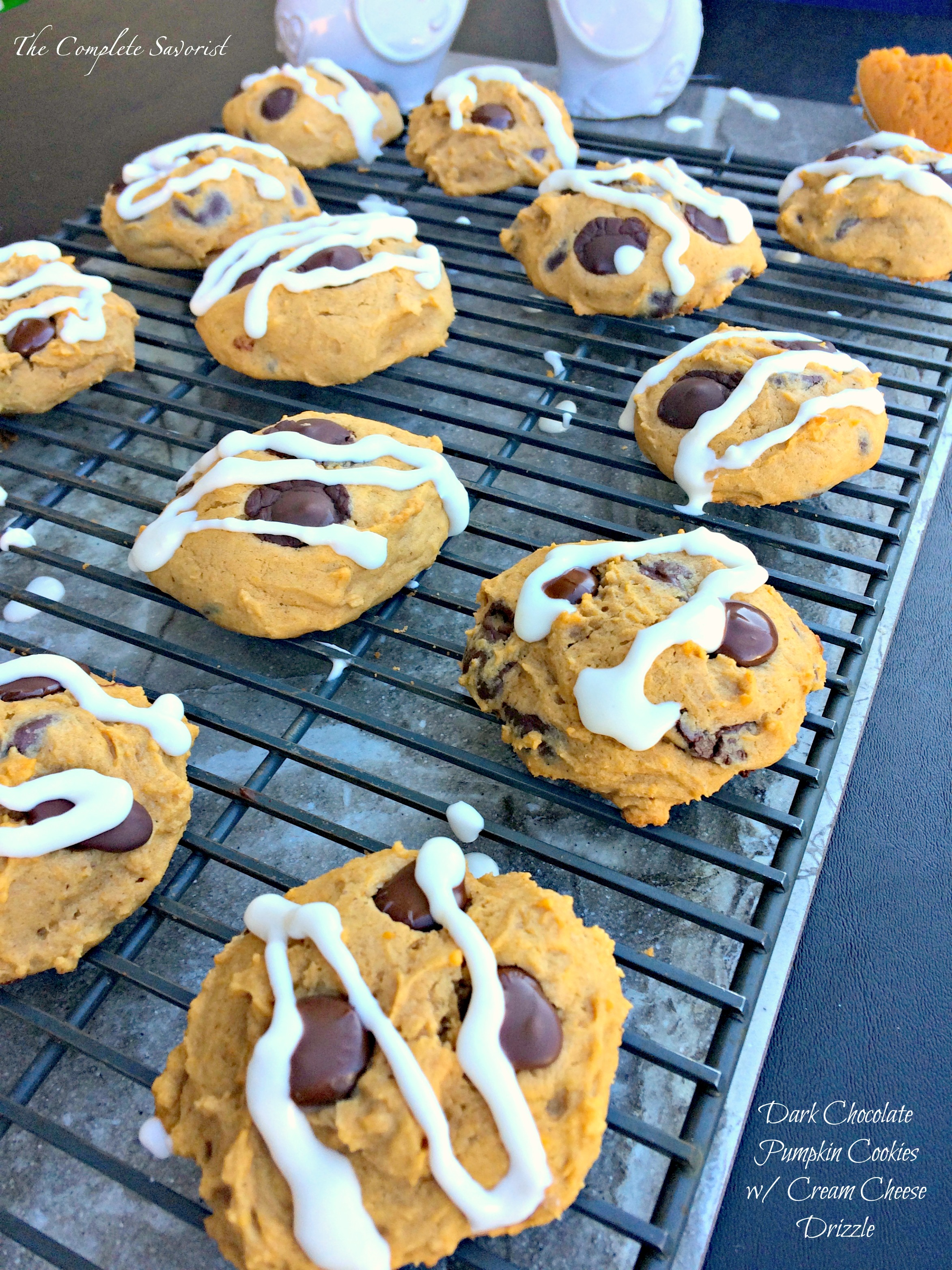 Dark Chocolate Chip Pumpkin Cookies with Cream Cheese Drizzle