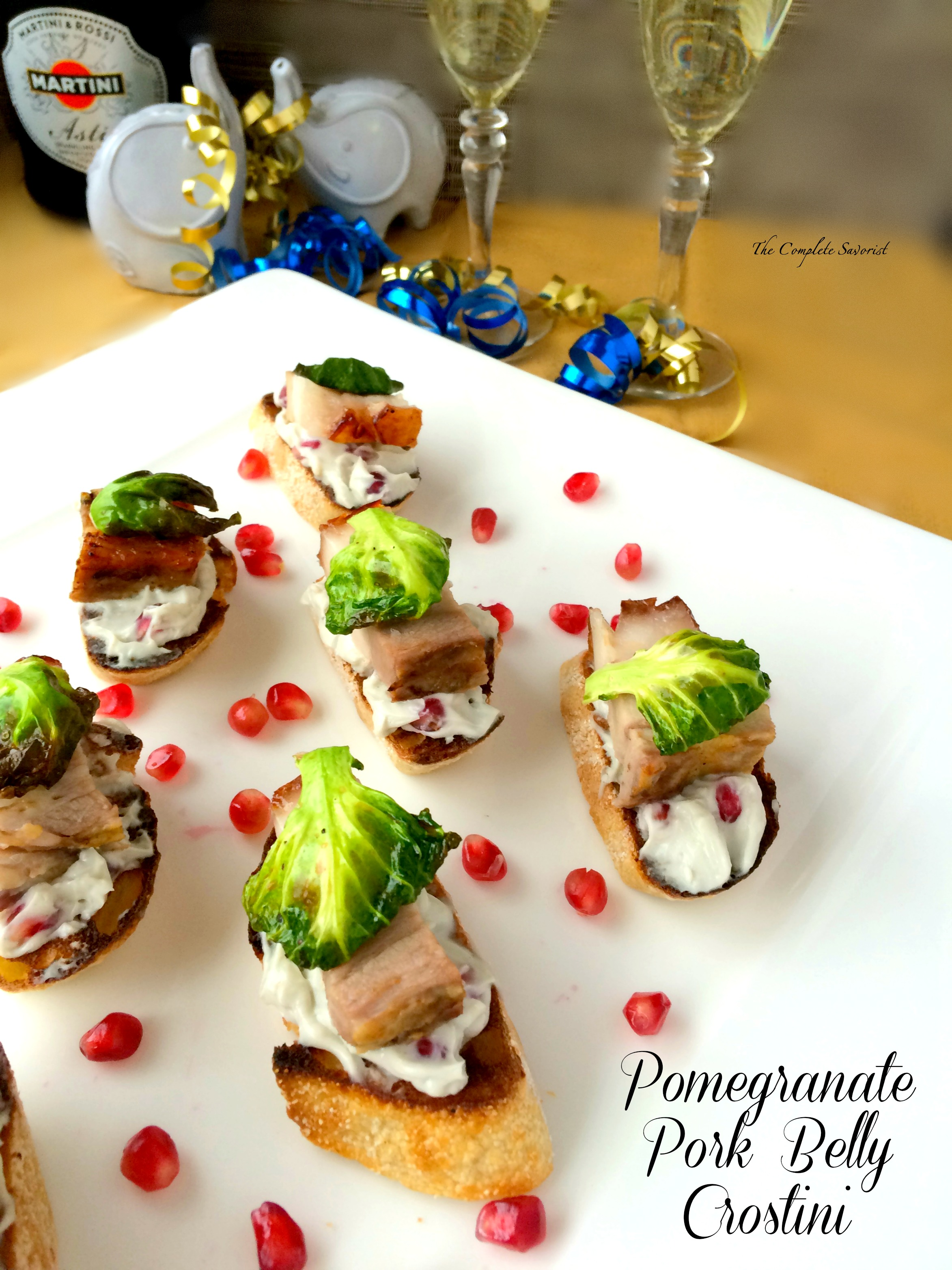 Pomegranate Pork Belly Crostini~ The Complete Savorist