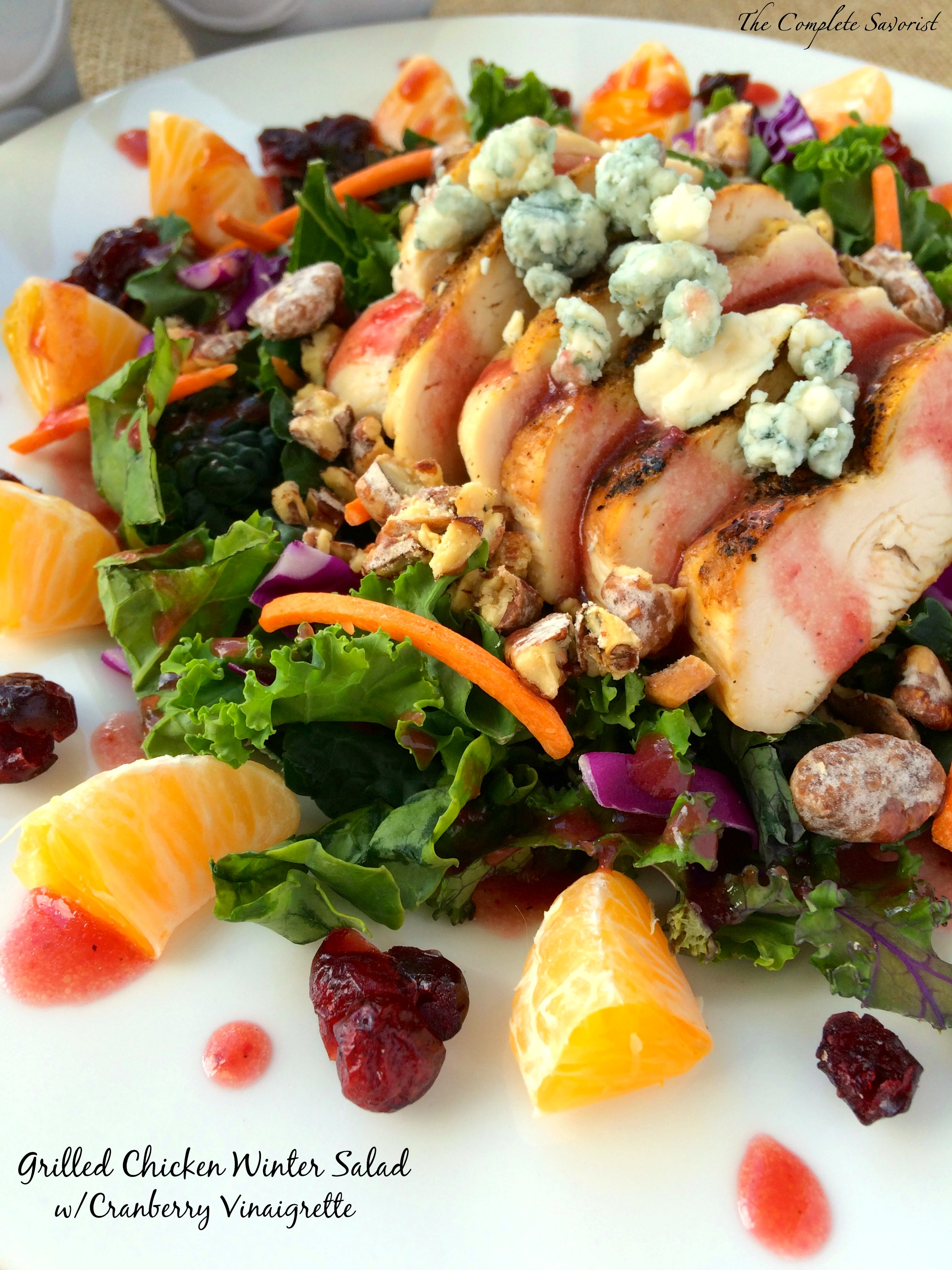 Grilled Chicken Winter Salad with Cranberry Vinaigrette ~ The Complete Savoirst