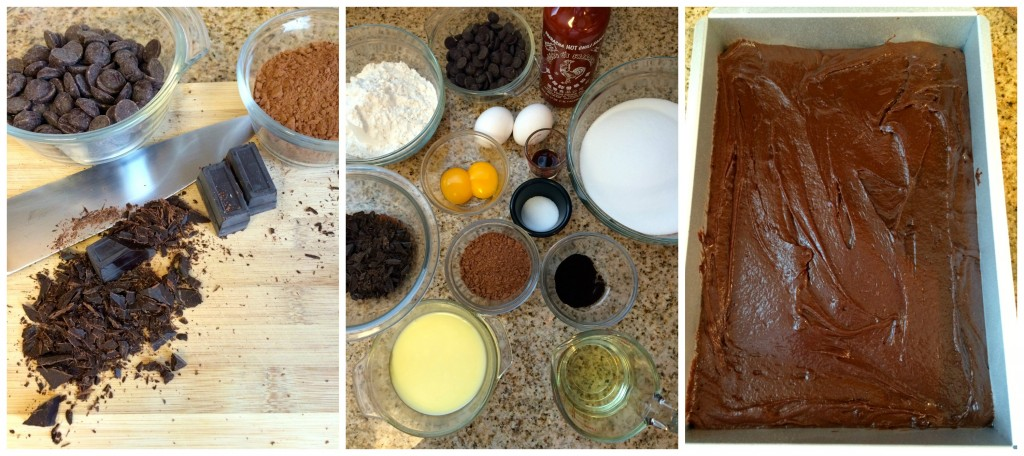 Ingredients collage for Sriracha Brownies ~ The Complete Savorist