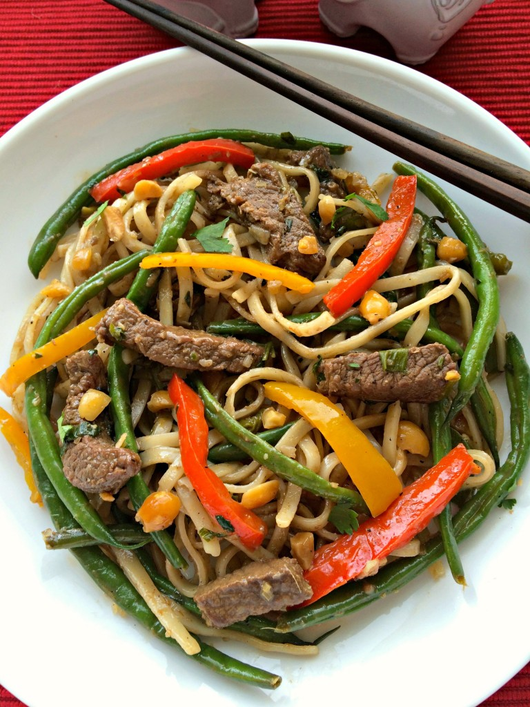 Thai Beef Noodles ~ Quick and easy Thai inspired stir fry guaranteed to make your toss your take out menus ~ The Complete Savorist