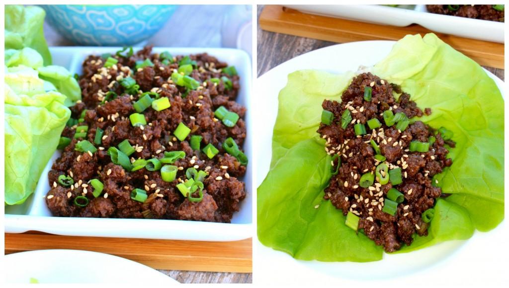 Close up of Korean Beef Lettuce Wraps ~ The Complete Savorist