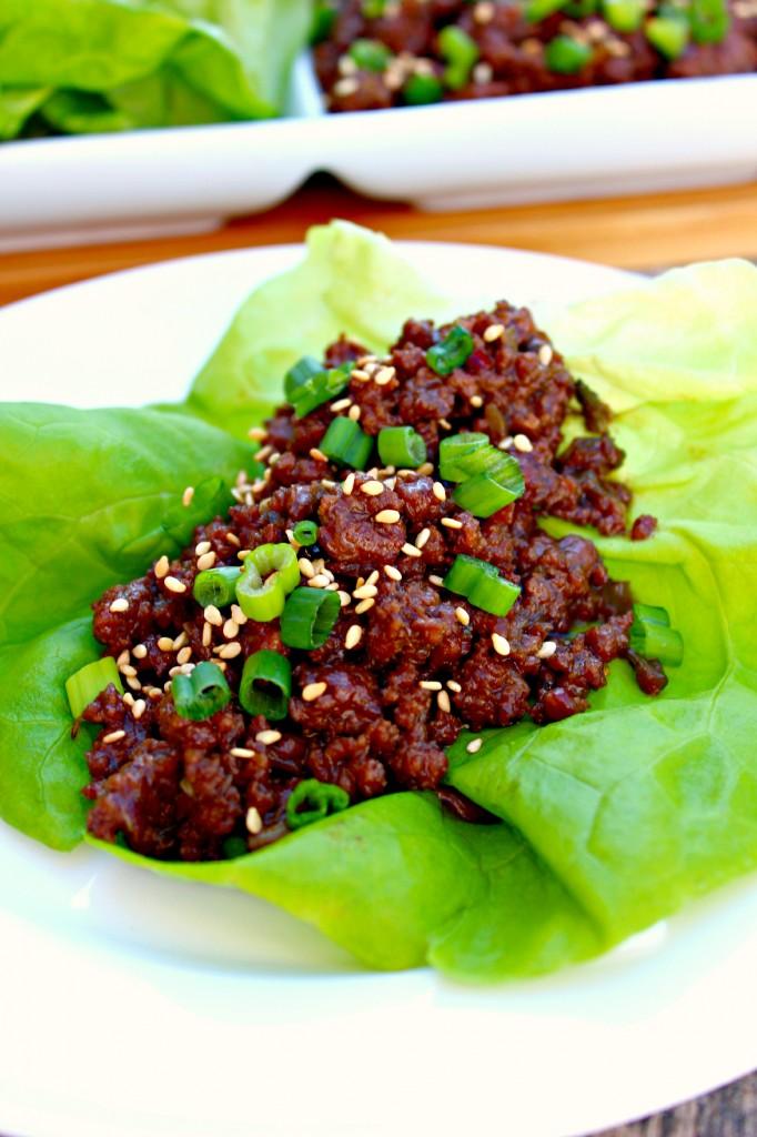 Close up of Korean Beef Lettuce Wrap ~ The Complete Savorist