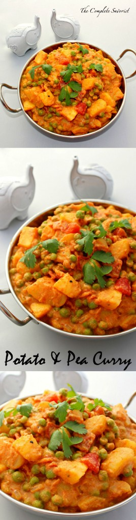 Potato and Pea Curry ~ Fragrant Indian spices enhance a creamy tomato sauce filled with luscious golden potatoes and sweet peas~ The Complete Savorist