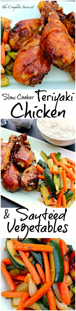 Slow Cooker Teriyaki Chicken Drummers and Veggies - Chicken drumsticks slow cooked and tossed with teriyaki sauce with zucchini and carrots stir-fried in sauce ~ The Complete Savorist