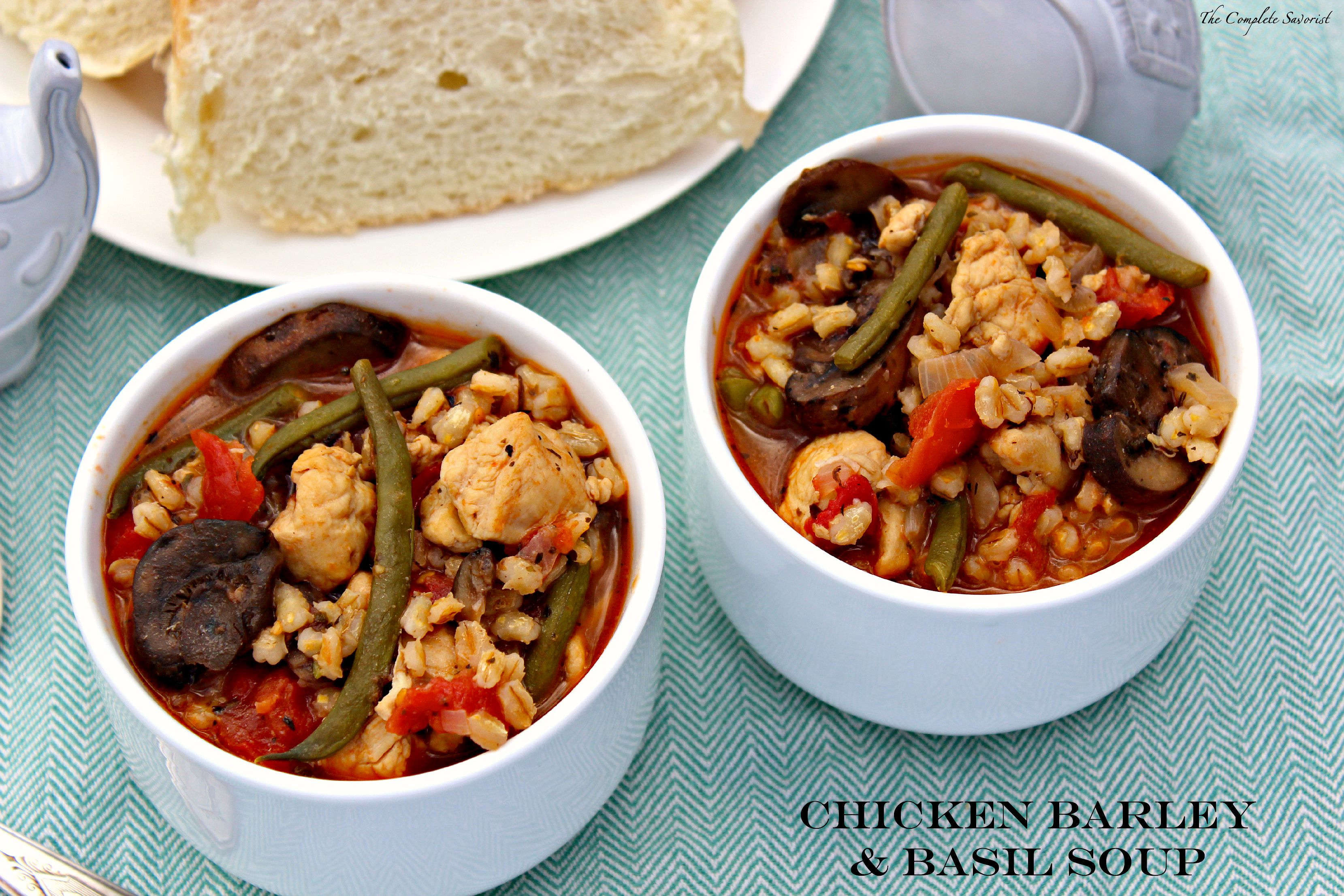Chicken Barley and Basil Soup ~ The Complete Savorist