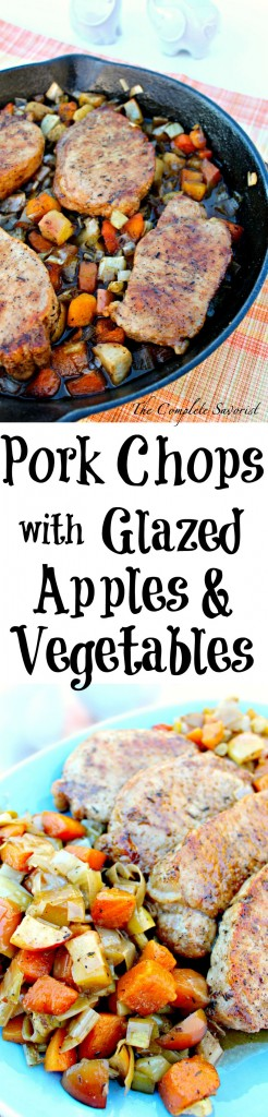 Pork Chops with Glazed Apples and Vegetables ~ Pan seared, thick cut pork chops oven roasted with apples, leeks, fennel, and butternut squash glazed in a herb brown sugar sauce ~ The Complete Savorist #SundaySupper