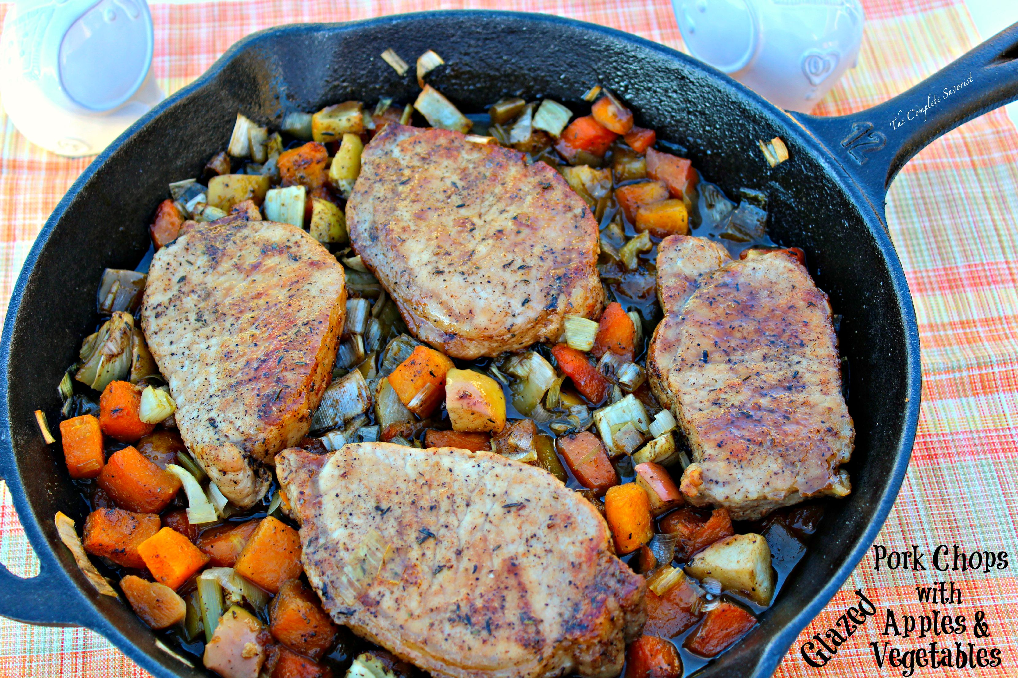 Pork Chops with Glazed Apples and Vegetables