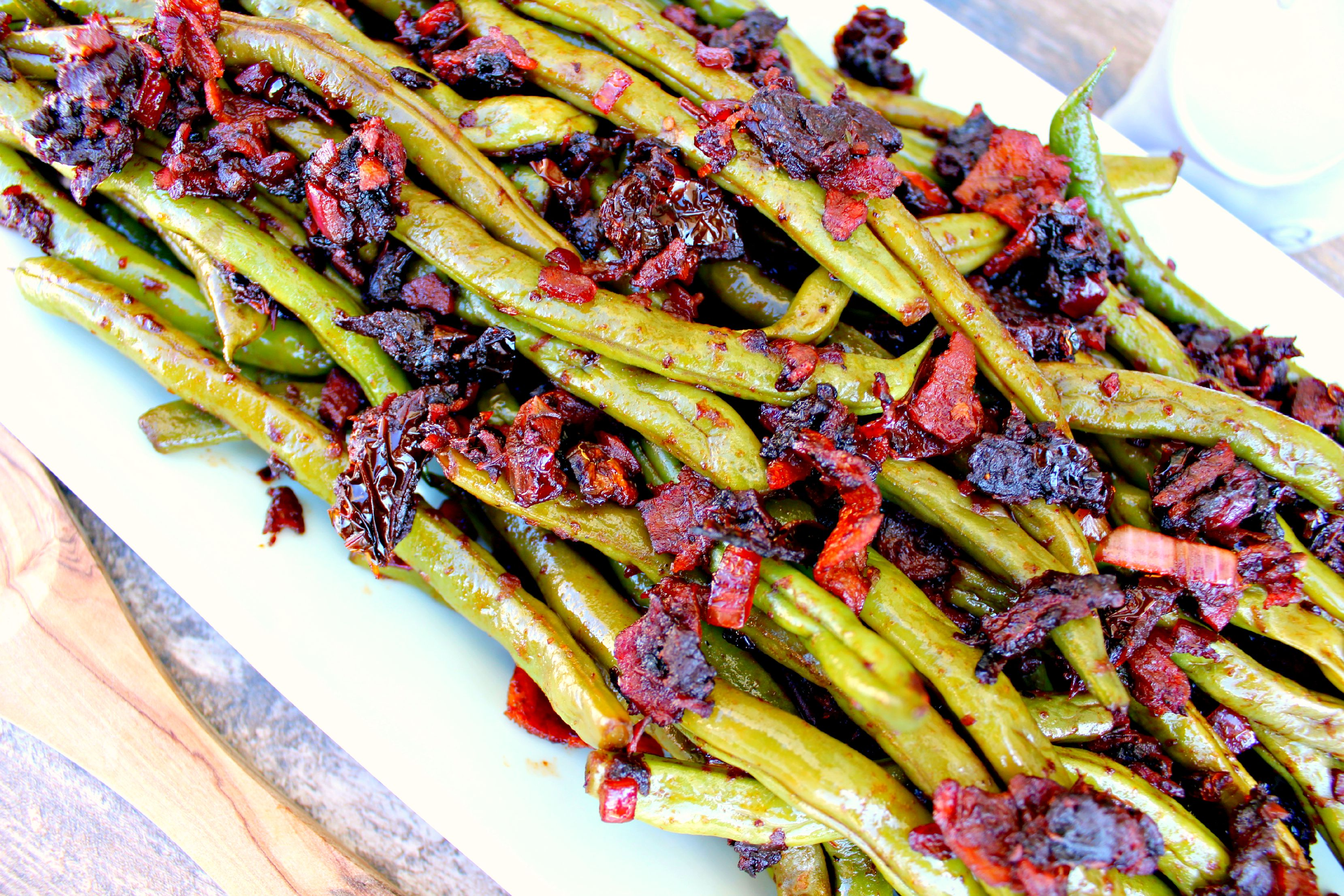 Green Beans ~ Garden green beans tossed with onions, bacon, and sun-dried tomatoes and a splash of red wine vinegar ~ The Complete Savorist