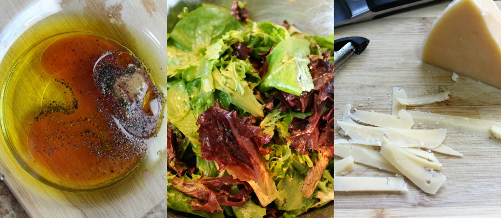 Prosciutto Wrapped Parmesan, Pears, and Greens - A slice of prosciutto rolled around a bunch of mixed greens that has been tossed in a light honey-dijon vinaigrette, layered with fresh pears and parmesan cheese slices ~ The Complete Savorist