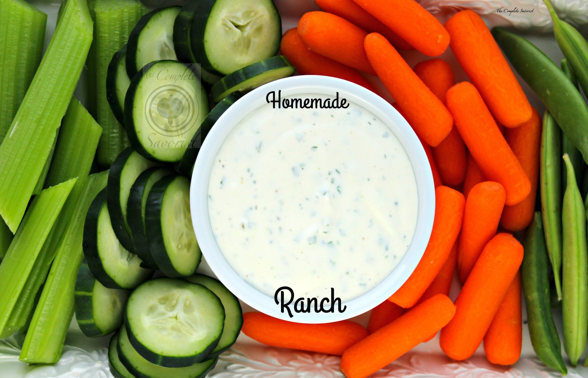 Homemade Ranch Dressing/Dip ~ A lightened up version of ranch dressing with both Greek yogurt and mayonnaise and fresh herbs ~ The Complete Savorist