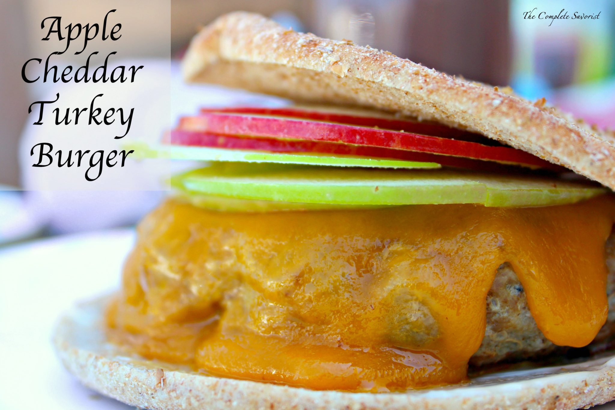 Apple Cheddar Turkey Burgers ~ Deliciously sage-seasoned ground turkey slathered in melted cheddar cheese, topped with both gala and granny Smith apples on a super thin bun ~ The Complete Savorist #GlucernaHungerSmart ad