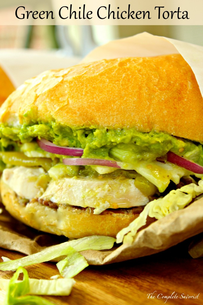 Green Chile Chicken Tortas ~ Mexican-style sandwiches loaded with chicken, green chile peppers, refried black beans, cheese, and avocado spread; hearty, delicious, and affordable ~ The Complete Savorist #RecetasParaMomentos ad