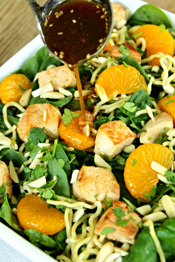 Asian Mandarin Orange Chicken Spinach Salad ~ New twist on the classic ...