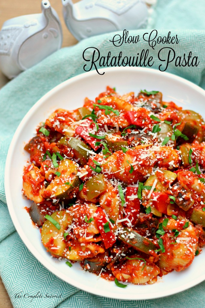 Slow Cooker Ratatouille Pasta ~ The iconic French stewed vegetable dish merges with its Italian neighbor creating a simple, yet hearty and full flavored dinner, all done in the slow cooker ~ The Complete Savorist ad