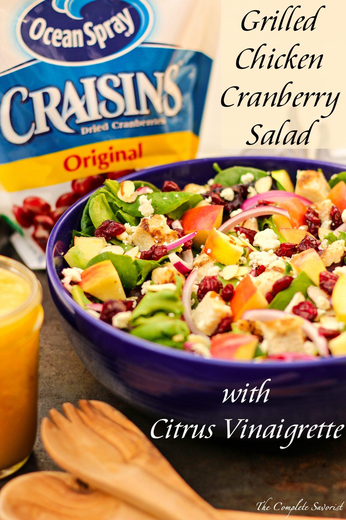Chicken Cranberry Salad with Citrus Vinaigrette ~ Fresh bed of salad ...