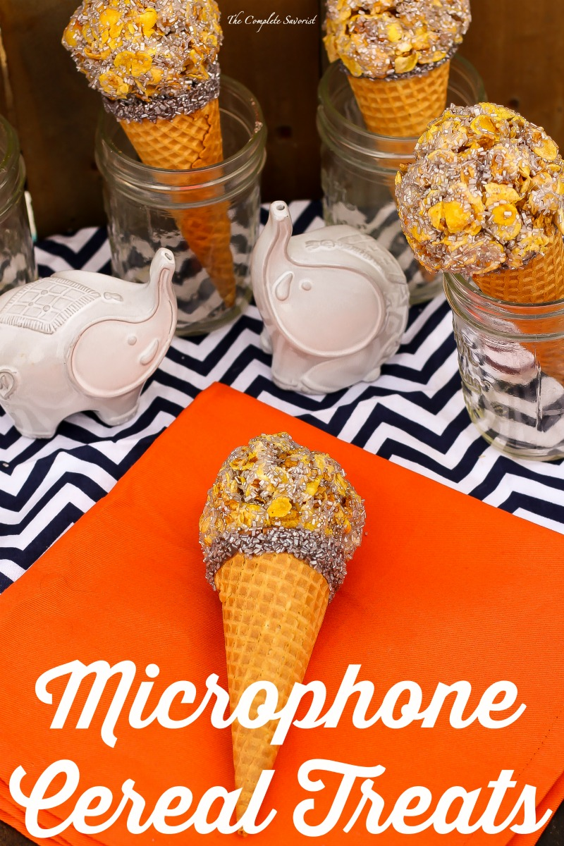 Microphone Cereal Treats ~ Delicious cereal treats molded and placed on a sugar cone, rolled in silver sugar to mimic the appearance of a microphone ~ The Complete Savorist #SingMovieSweeps ad
