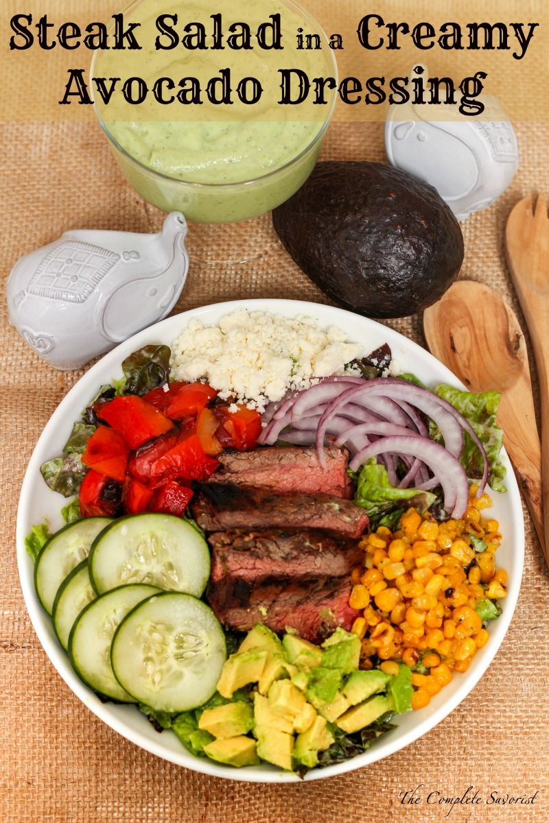 Mexican Steak Salad in a Creamy Avocado Dressing ~ Greens, carne asada, and other goodies lavishly coated in creamy avocado dressing ~ The Complete Savorist #VidaAguacate #EchaleLoMejor ad