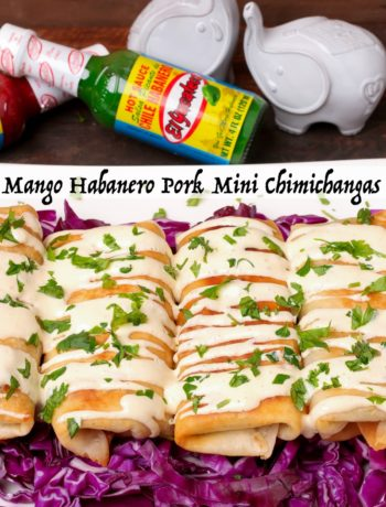 Mango Habanero Pork Mini Chimichangas ~ Slow cooked pork, shredded, wrapped, lightly fried mini chimichangas are perfect while watching your favorite team.
