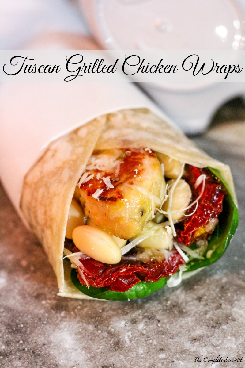 Tuscan Grilled Chicken Wraps ~ Bursting with bold flavor, this wrap comes together in minutes and is loaded with protein and veggies ~ The Complete Savorist ad