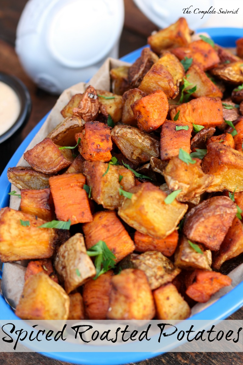 Spiced Roasted Potatoes ~ Three types of potatoes (sweet, red, and ...