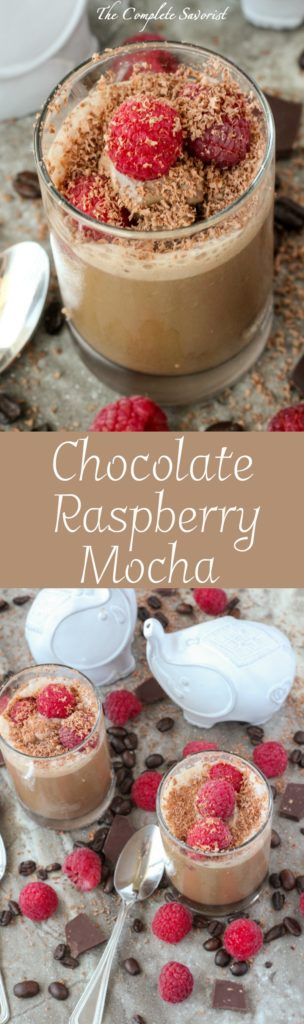 Chocolate Raspberry Mocha Shots ~ Cold Brew Coffee, Chocolate Ice Cream, Raspberries, and grated Raspberry Chocolate for a decadent yet healthier treat ~ The Complete Savorist