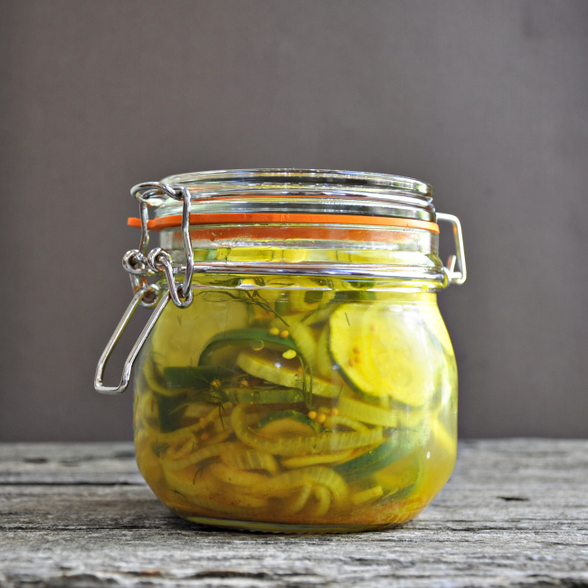 Spicy Bread and Butter Pickles by Pinch and Swirl